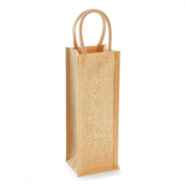jute:glänzende bottle bag